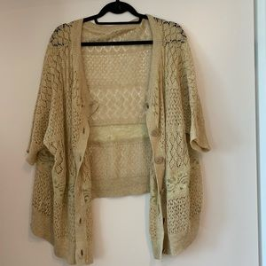 -NWOT Anthropologie Moth Knit Crochet Sweater